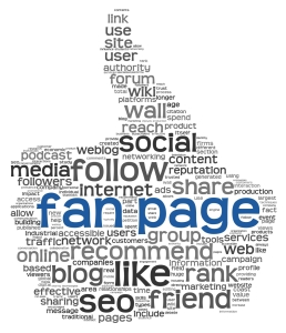 Fan page in tag cloud on white